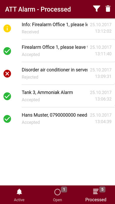 Mobile app active alarms