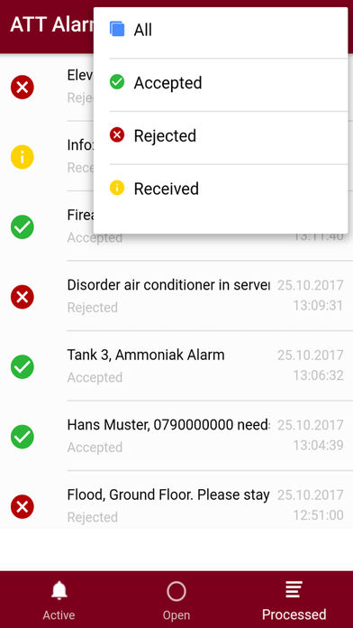 Mobile app filter alarms